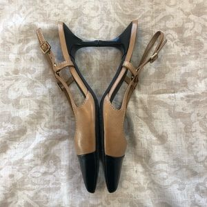 Tory Burch Shoes - Tory Burch Tan Leather Felicity Mid Heel Pumps